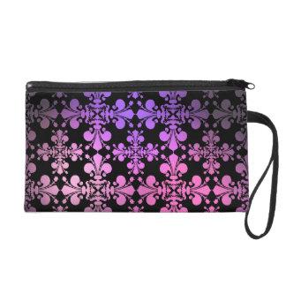 Fleur de lis pattern pink purple black wristlet