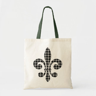 fleur de lis petit black and gray houndstooth budget tote bag
