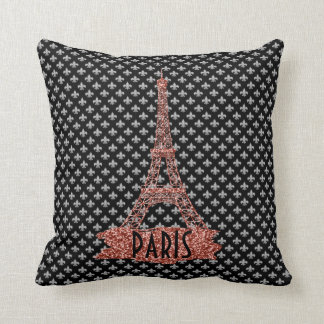 Fleur De Lis Pink Eiffel Tower Paris Girly Glitter Cushion