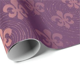 Fleur de Lis Purple Amethyst Plum Circles Wrapping Paper