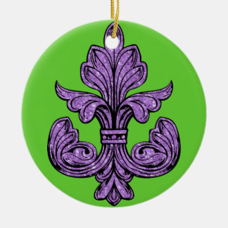 Fleur de lis Purple Double-Sided Ceramic Round Christmas Ornament