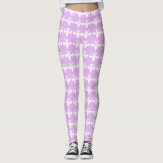 Fleur-de-lis Purple Pastel Girly Lavender Leggings