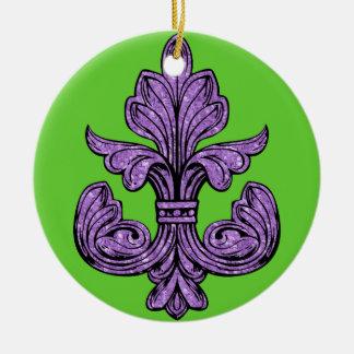 Fleur de lis Purple Round Ceramic Decoration