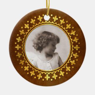 Fleur-de-lis Round Photo Frame Christmas Ornament