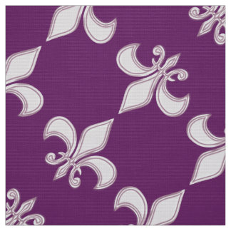 Fleur de Lis royal purple pattern Fabric