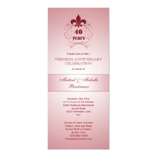 Fleur de Lis Ruby Anniversary 10 Cm X 24 Cm Invitation Card