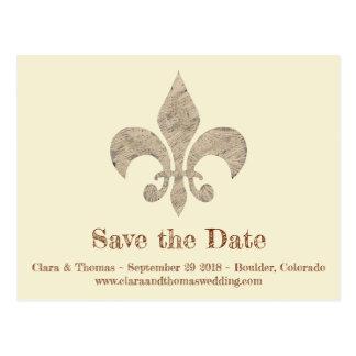 Fleur de lis Save the Date Simple Elegant Wedding Postcard