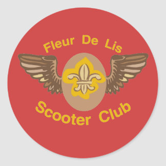 Fleur De Lis Scooter Club Classic Round Sticker