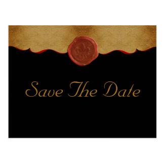 Fleur de Lis Scroll Save The Date Postcard