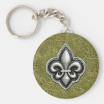 Fleur de Lis Silver on Green Leather Look Basic Round Button Key Ring