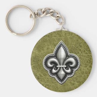 Fleur de Lis Silver on Green Leather Look Key Ring