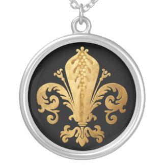 Fleur-de-lis Silver Plated Necklace