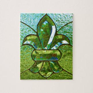 Fleur De Lis Stained Glass Green Puzzle