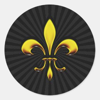 Fleur De Lis Round Stickers