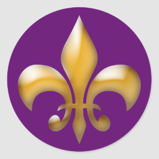 Fleur de Lis Stickers in Purple and Gold