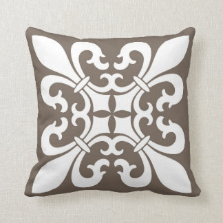 Fleur de lis Symbols in White on Taupe Cushion
