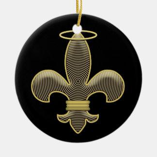 Fleur de lis Talisman Double-Sided Ceramic Round Christmas Ornament
