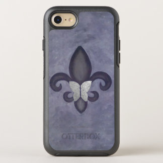 Fleur-de-Lis Tech | Butterfly Heather Muted Purple OtterBox Symmetry iPhone 8/7 Case