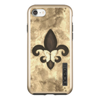 Fleur-de-Lis Tech | Sepia Beige Brown Butterfly Incipio DualPro Shine iPhone 8/7 Case
