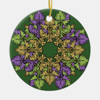 Fleur de lis Three Double-Sided Ceramic Round Christmas Ornament