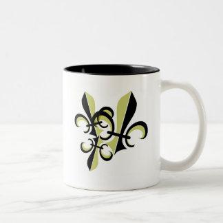 FLEUR DE LIS TRIO PRINT COFFEE MUGS