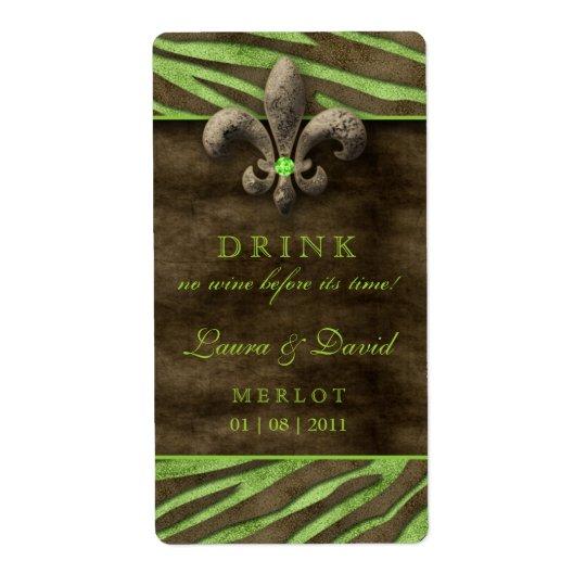 Fleur de Lis Wine Label Vintage Lime Brown Zebra