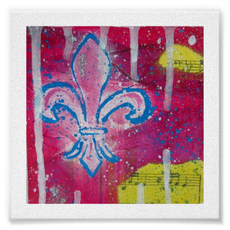 Fleur de Lis with Magenta, Blue and Yellow Canvas Poster