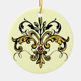 Fleur de lis Xmas Christmas Ornament
