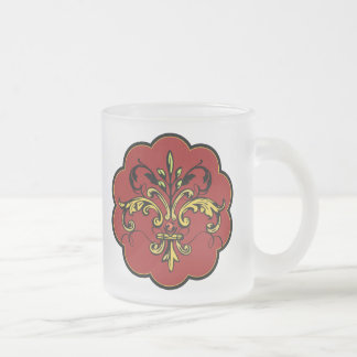 Fleur de lis Xmas Frosted Glass Mug