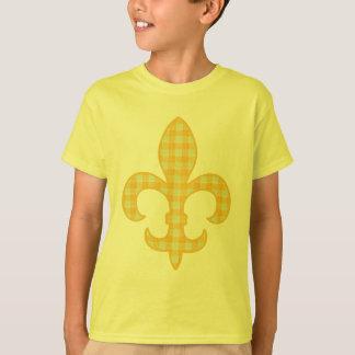 Fleur de lis Yellow Gingham kids t-shirt