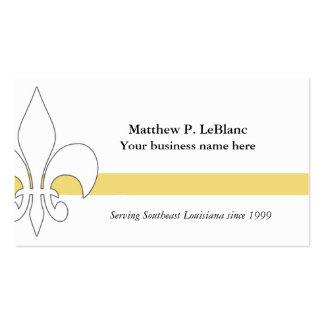 Fleur de Lis Yellow Stripe Business Card