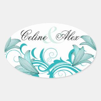 Fleur de Lyrica abstract floral   white teal Oval Sticker