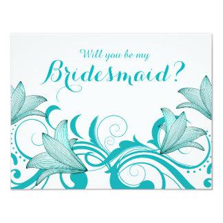 Fleur de Lyrica Will You Be My Bridesmaid? | teal 11 Cm X 14 Cm Invitation Card