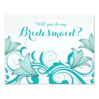 Fleur de Lyrica Will You Be My Bridesmaid? | teal Card