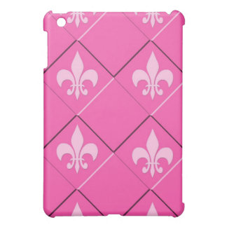 Fleur de lys and squares pink pattern cover for the iPad mini