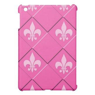 Fleur de lys and squares pink pattern iPad mini covers