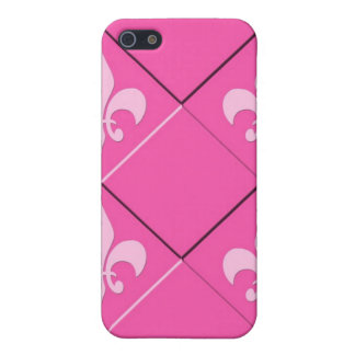 Fleur de lys and squares pink pattern iPhone 5/5S covers
