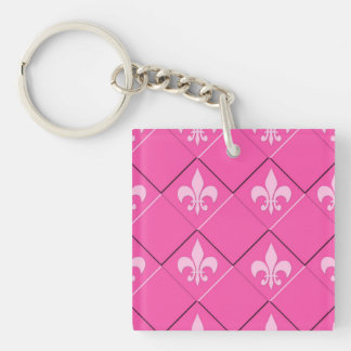Fleur de lys and squares pink pattern key ring