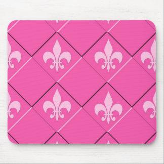 Fleur de lys and squares pink pattern mouse mat
