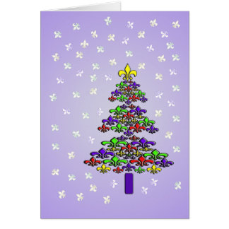 Fleur de Lys Christmas Tree and Snow Card