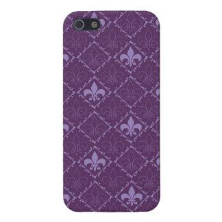 Fleur de lys pattern purple glossy iphone 5 case
