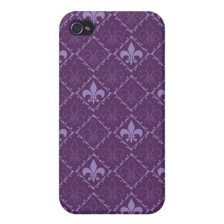 Fleur de lys pattern purple matte iphone 4 case