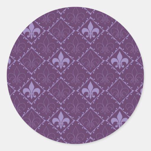 Fleur de lys pattern purple round stickers