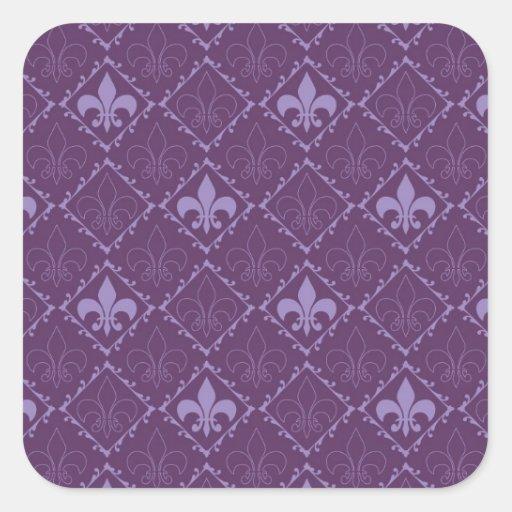 Fleur de lys pattern purple square stickers