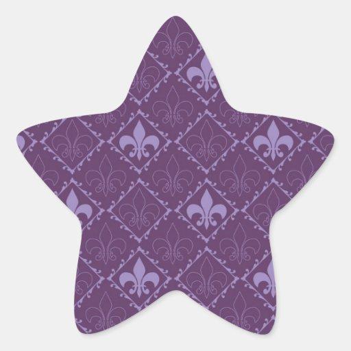 Fleur de lys pattern purple star stickers