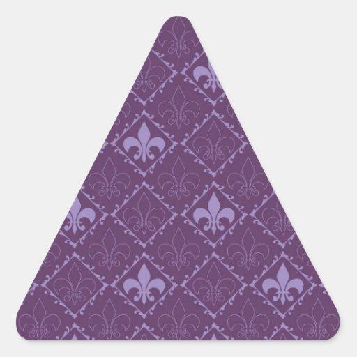 Fleur de lys pattern purple triangle stickers