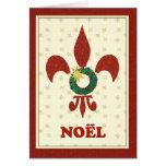 Fleur de Lys Wreath Noel Greeting Cards