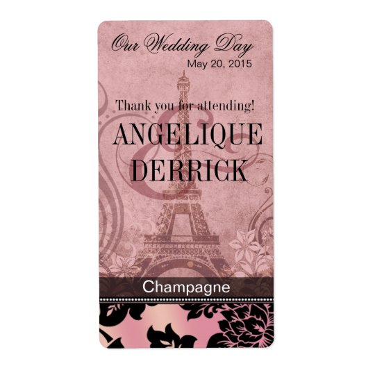 Fleur de Paris Eiffel Tower | pink Wine Label Shipping Label