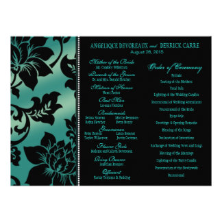 Fleur de Paris Eiffel Tower Wedding Program teal Custom Invitations