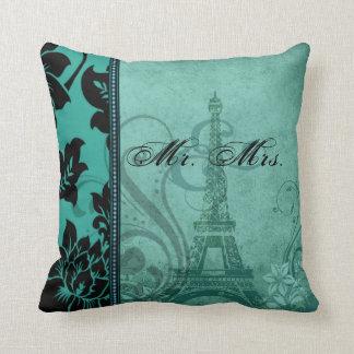 Fleur de Paris | teal Mr. & Mrs. Cushion